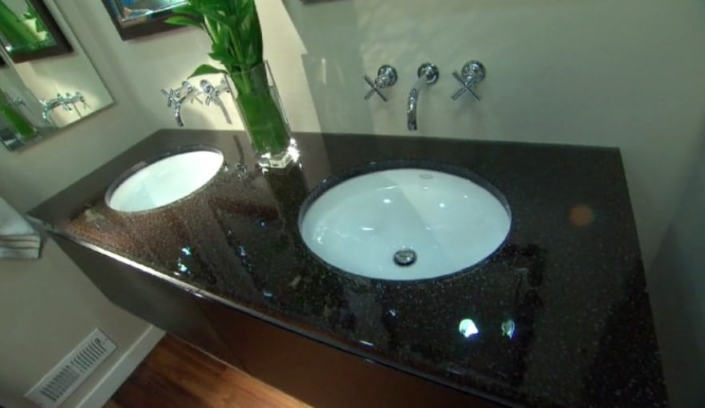 "1"" thick Infinity Obsidian Glass Vanity - VS-100"