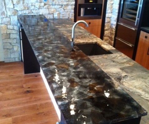 "1"" thick Custom Cast Tuxedo Glass Counter Top - CT-007"