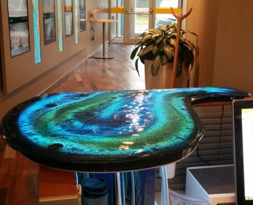 Layered, Back-painted Blue Luna Glass Accent Counter - CT-014