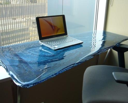3-Layered Blue Luna Glass Desk - DT-002