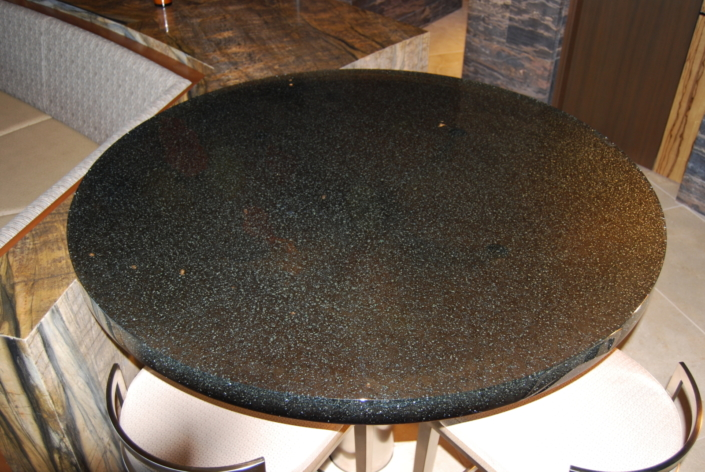 """2"""" thick Infinity Bronze Glass Table Top - DT-004"""