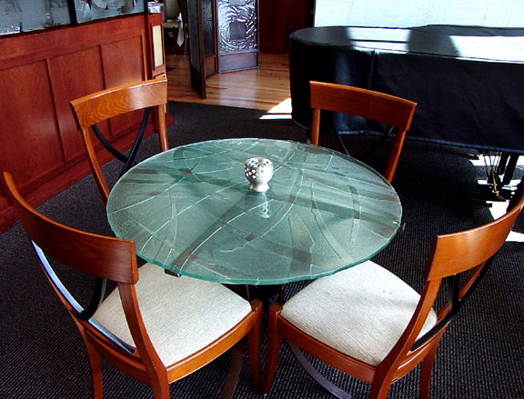 Custom Texture Slump Glass Coffee Table - DT-012