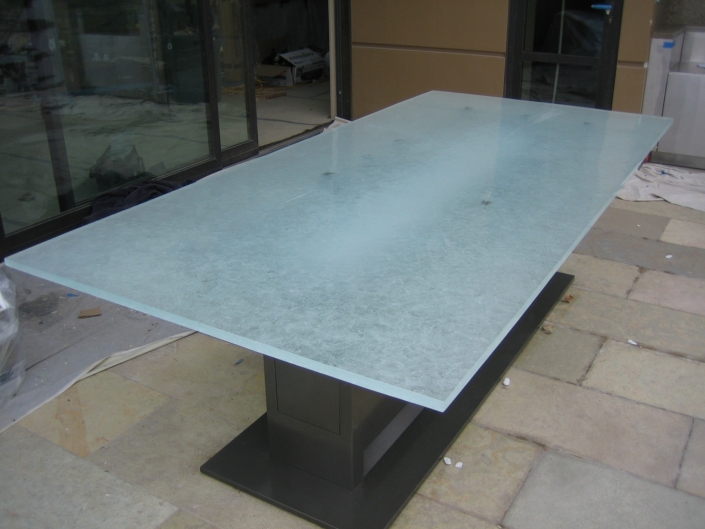 """1"""" thick Arctic Wisp Glass Patio Table - DT-015"""