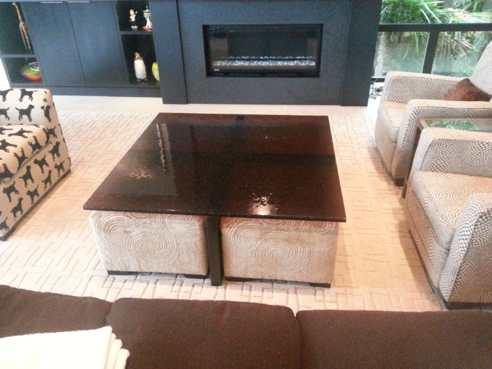 """1"""" thick Infinity Bronze Glass Coffee Table - DT-022"""