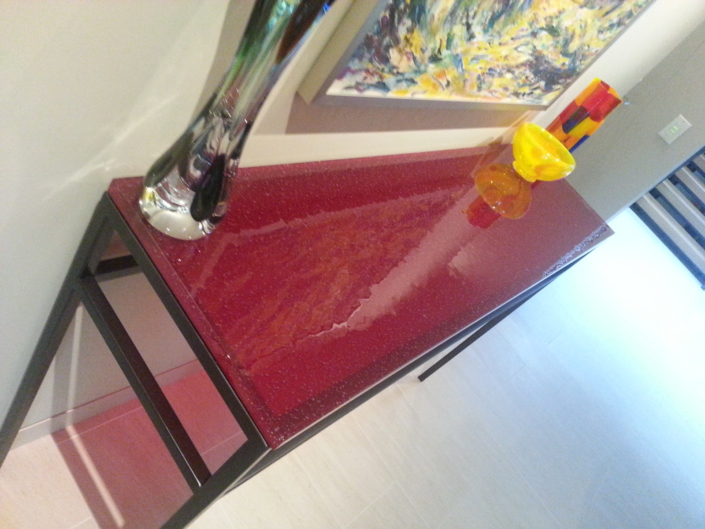 """1"""" thick Infinity Ruby Glass Side Table - DT-023"""