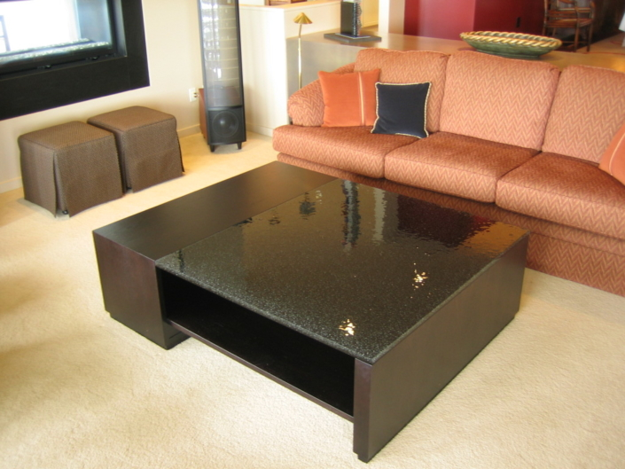 """1"""" thick Infinity Obsidian Glass Coffee Table - DT-024"""