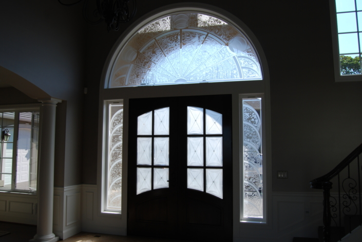 Custom Etched and Glue-chipped Glass Doorlites - DW-002