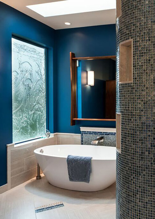 Custom Texture Slump Glass Window with Underwater Sea Motif - DW-008