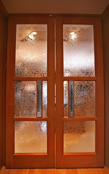 Custom Etched and Glue-chipped Glass Doorlites - DW-016