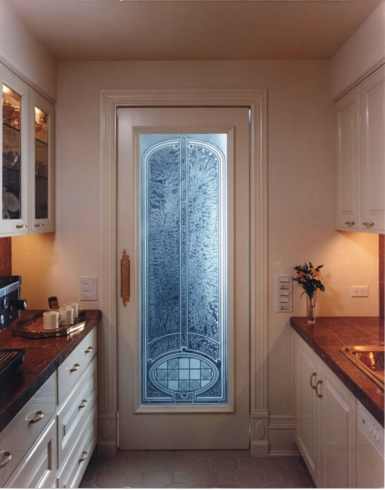 Custom Etched and Glue-chipped Glass Door Insert - DW-019