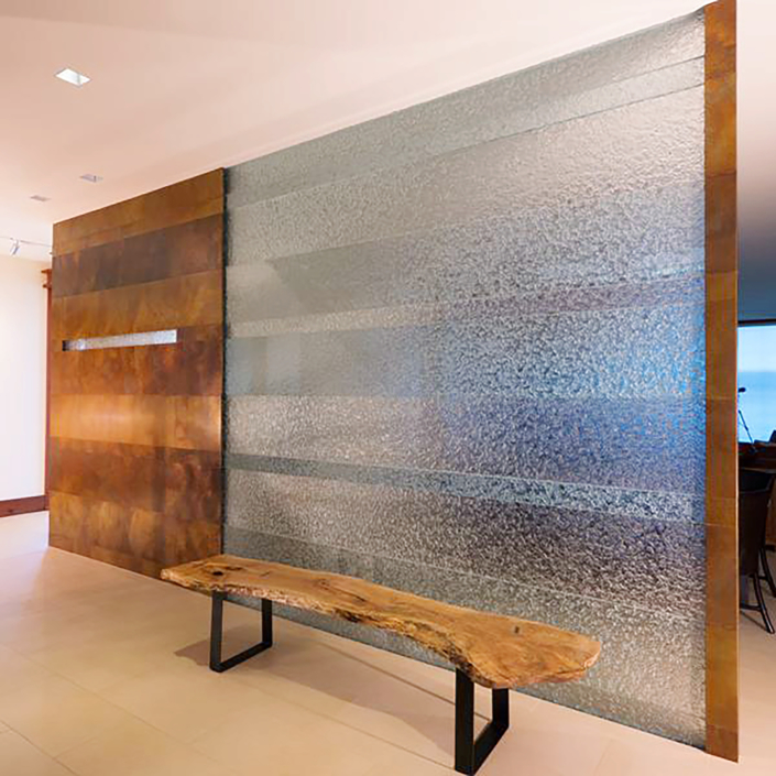 "1"" thick ""Alternate Paneled"" Escala Glass Privacy Wall - WP-001"