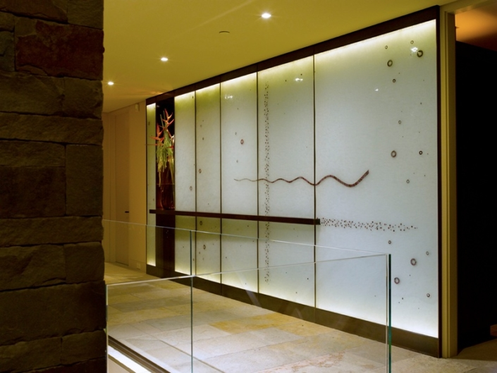 Custom Cast Glass Entry Art Wall with embedded metal - WP-023