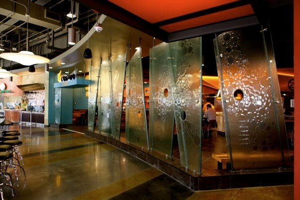 Custom Texture Slumped Safety Glass Entry Walls - WP-025