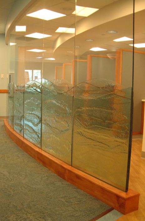 4-Layer Midori Glass applied to clear glass Privacy Walls - WP-027