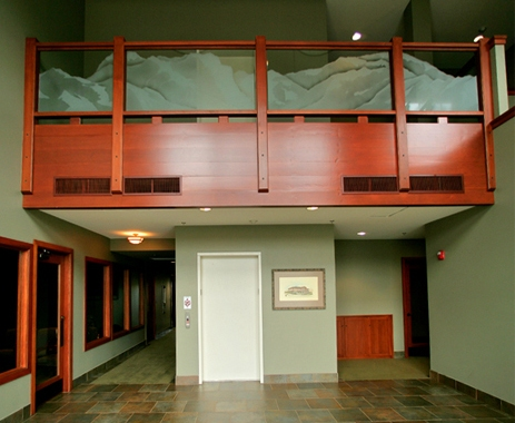 Custom Etched Safety Glass Balustrade - WP-034