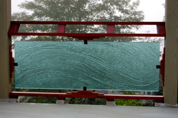 Water Texture and Crumble Slump Glass Balustrade - WP-053