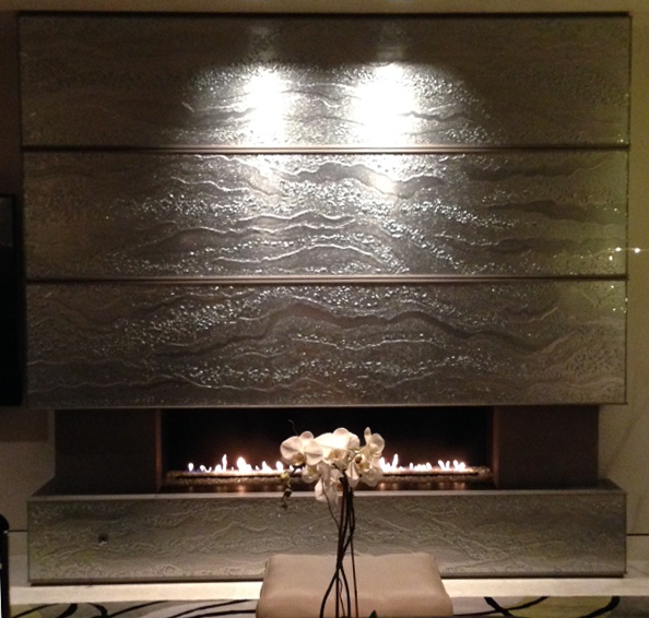 Luna Mirrored Slumped Glass Fireplace Cladding - WP-056
